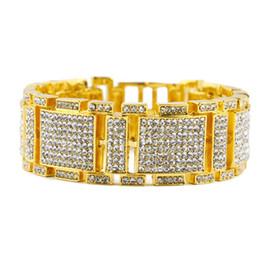 Wholesale Crystal Chain Link Bracelet - Gold Iced Out Crystal MicroPave Bling HipHop Adjustable Bracelet 3 colors for men Y#103