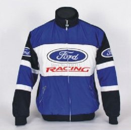 Wholesale Ford Gp - Wholesale- fashion ford jacket embroidery Windproof MOTO GP clothes blue colour sweatshirt winter long sleeves coat