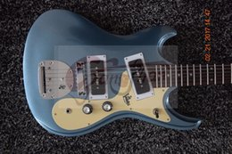 Wholesale Dot Guitar - Rare 1966 Ventures Mosrite Model Metallic Blue Electric Guitar Special Tremolo Bridge Dual P 90 Pickups White MOP Dot Inlay Chrome Hardware
