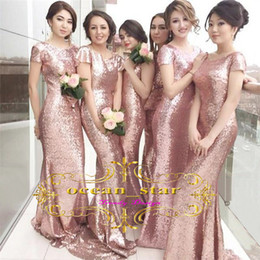 Wholesale Sleeves Mermaid Bridesmaid - Sexy Mermaid Bridesmaid Dresses Bateau Neckline Sequined Lace Cap Sleeves Backless Sweep Train 2017 Women Evening Party Gowns