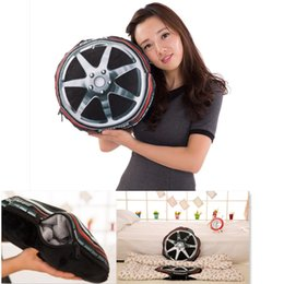 Wholesale 3D printing Simulated Tyre in Cushion Quilting blanket styles Multifunction Tire plush Cushion Portable Coral blanket cm