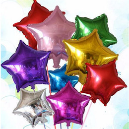 """Wholesale Red Trolley - Cheap Wholesale 10"""" Inch Foil Star Heart Balloon Helium Metallic Balloons For Birthday Christmas Decoration Party Supplies"""