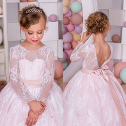 Wholesale Girls Petticoats Floor Length - Cheap Lace Flower Girls Dresses With Petticoat Jewel Neck Sash Bow Long Sleeves Pageant Girls Dress New Arrival Floor Length Birthday Dress