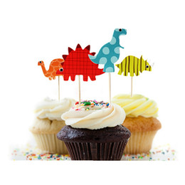 Wholesale Cupcake Funny - Wholesale-48pcs Dinosaur Cupcake Toppers Picks, Funny Wedding Cake Toppers Cake Decorating Supplies Baby Party Decoration Accessories
