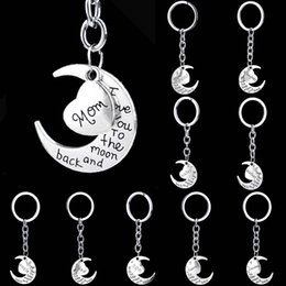 Wholesale Ring Backs - I Love You to the Moon and Back Heart Family Member Keychains Letter Grandma Grandpa Son Dad Sister Best Friend Key chain Key ring 170706