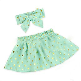 Wholesale Heart Printed Skirt - Baby Girls New Arrival Print Hearts Ruffles Cotton Skirt With Big Bowknot Headband Print Heart Shape Whoelsale Girls Skirt