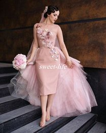 Wholesale Cocktail Dresses For Women - Blush Pink Knee Length Short Evening Party Dresses with Detachable Train Tulle 3D Flowers 3 4 Sleeves 2017 Women Cocktail Dresses for Prom