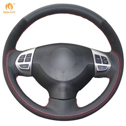 Wholesale Mitsubishi Lancer Sports Car - Mewant Black Genuine Leather Black Suede Car Steering Wheel Cover for Mitsubishi Lancer EX Outlander ASX Colt Pajero Sport