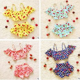 Wholesale Toddler Two Piece Bikini - Girls Swimwear Kids Swiming Suit Toddler Two Pieces Swimwear Girls Ruffled Dot Bikinis Summer Beach Slip Tops Swimwear Bathing Free Shipping