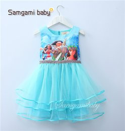 Wholesale Tutu Skirt Age - Ins Hot Moana Girls Dress 3-7 years age Girl Skirts Blue Pink Colors Sleeveless one-piece Dresses Kids Clothing