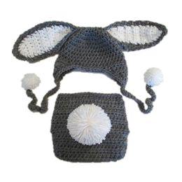 Argentina Adorable bebé traje de conejito de Pascua, tejido a mano de punto de ganchillo bebé niño niña gris conejo Pompom sombrero y conjunto de cubierta de pañal, bebé recién nacido foto Prop Suministro
