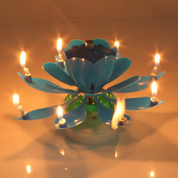 Wholesale Musical Party Decorations - Romantic Musical Candle Lotus Flower Happy Birthday Party Gift Rotating Lights Decoration Music Candles Lamp