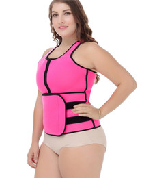 Wholesale Plus Size Belly S - 2017 Hot Plus Size Waist Trainer Neoprene Sauna Sweating Vest Tank Top Velco Magic Sticker Belly Trimmer Zipper Belt Women Shaper