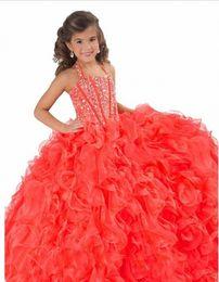 Ragazze ragazze bellissime abiti online-Comunione abiti lunghi palla bambino ragazza bella pageant abiti abiti per la piccola ragazza vestaglia sfarzo