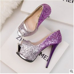 Wholesale Ladies Sexy Leather Sandals Wedge - wedge sandals high heels elegant sexy fashion women lady gradient sequins high heels evening wedding shoe