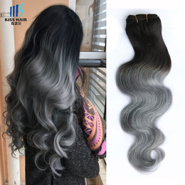 human hair body waves two tone Promo Codes - 300g Ombre Two Tone Human Hair Bundles T 1B Grey Good Quality Colored Brazilian Hair Extension Brazilian Cambodian Peruvian Indian Body Wave