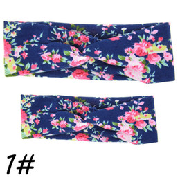 Wholesale Cross Wrap Hair - Wholesale- 2Pc Set Mama Mother & Baby Twisted Cross Headband Floral BowKnot Hairband Turban Head Wrap Hair Band Accessories