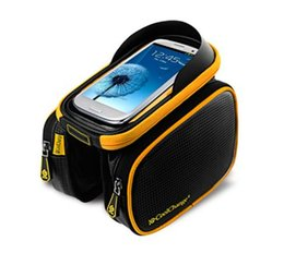 Wholesale Top Tube Bag Phone - Bicycle Frame Front Head Top Tube Waterproof Bike Bag&Double IPouch Cycling For 6.0 in Cell Phone Bike Accessories