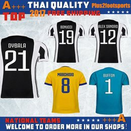 Wholesale Orange Dry Top - Top Thai quality 17 18 Juven Soccer jersey 2017 2018 Buffon JuVeNtu MARCHISIO DYBALA HIGUAIN DANI ALVES Goalkeeper yellow Football shirt