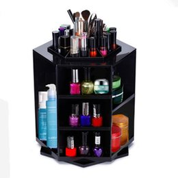 Пластиковый держатель для макияжа онлайн-Мода настольные держатели для хранения 360 градусов вращения пластиковые косметические стойки многофункциональный водонепроницаемый макияж стенд практические нетоксичные 45yw Б