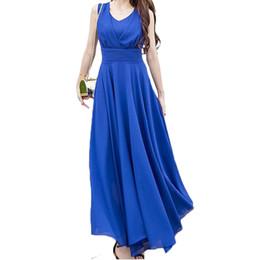 Vestito elegante delle donne bohemie più il vestito chiffon da estate lungo di colore solido di O-neck sleeveless casuale di formato 5XL per femmina da