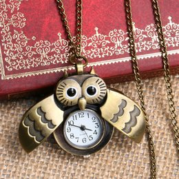 Wholesale Cute Owl Pendant Watch - Wholesale-Cute Beautiful Owl Design Quartz Pendant Pocket Watch With Chain Necklace Free Drop Shipping Gift To Women Ladies Girls