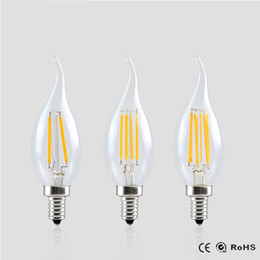 Wholesale Chandeliers Edison Bulbs - E14 led Filament Dimmable Bulb Lamp 2W 4W 6W 220V 2 4 6Leds cob light Candle lampada led Retro Crystal For Chandeliers