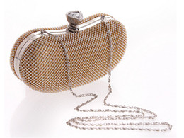 Wholesale Bling Glasses Case - Bling Bean Shape Glass Diamond Evening Clutch Bag Shinny Formal Hard Case Purse for Wedding Party 2017