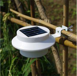 luces de la valla solar caliente Rebajas Lámpara LED de 3 Leds con luz solar, luz blanca / cálida, impermeable, valla de la calle, jardín, techo, lámpara de pared al aire libre
