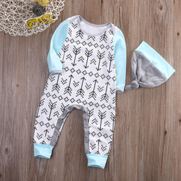 Wholesale Boutique Boys Outfits - Baby Romper Boutique Boy Girl Clothing Toddler Outfit Christmas Pajamas Long Sleeve Onesies Grey Hat Legging Warm Jumpsuit Newborn Infant
