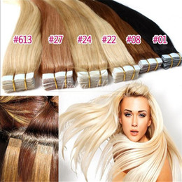 "Wholesale Remy Skin Weft Hair - 100g 40pcs 18"" 20"" 22"" 24"" 26"" 28"" Tape in Human Hair Extensions Indian remy straight skin weft tape hair extension"