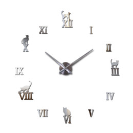 Wholesale Large Decorative Mirrors - Wholesale-2016 hot sale wall clock acrylic mirror roman cat large clocks quartz watch large living room decorative europe free shipping