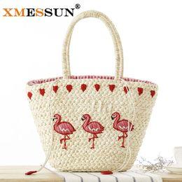 Wholesale Korean Straw Beach Bags - Wholesale-2016 New Korean Embroidery Women's Hand Bag Large Straw Shoulder Bag Fashion Flamingo Beach Bags Big Tote Woven Bag L204