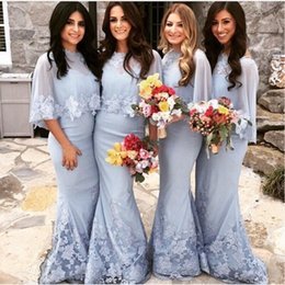 Wholesale Young Ladies Dresses - Elegant Young Lady Bridesmaids' Formal Dresses Long Chiffon Lace Event Dress Light Blue Dress with shawl