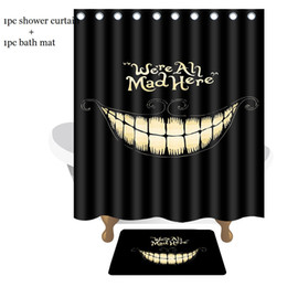 Wholesale Mouth Shower - Creative Bathroom Set Funny Laugh Mouth We Are Mad Here Waterproof Shower Curtains 150*180cm with Bath Mats 40*60cm Bath Curtains Mats Set