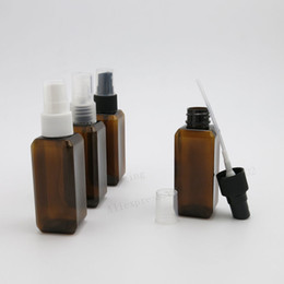 Wholesale Small Atomizer Bottles - 50 x 50ml Small Amber Square Refillable Plastic Spray Bottle Perfume Sprayer Cosmetic Atomizers