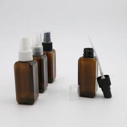 Wholesale Perfume Spray Atomizer Sprayer - 50 x 50ml Small Amber Square Refillable Plastic Spray Bottle Perfume Sprayer Cosmetic Atomizers
