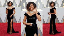 Wholesale Best Off Shoulders Dresses - Oscars 2017 Best Dressed Red Carpet Party Gowns Off Shoulder Black Velvet Off Shoulder Side Split Cap Sleeve Women Celebrity Evening Dresses