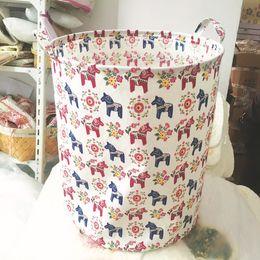 bebé eco algodón Rebajas Lona Algodón Canasta de almacenamiento Plegable Niños Juguete Bolsa de almacenamiento Ropa de bebé Bolsas de lavandería con asa Varios colores Venta caliente 15bl J R