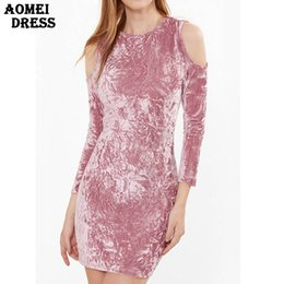 Wholesale Cute Casual Dresses For Winter - Female Off the Shoulder Pink Mini Velour Dress for Women Winter Sping Slim Bodycon Sexy Girls Party Cute Velvet Robes Vestidos