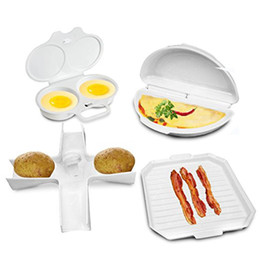 Wholesale Microwave Eggs - Easy To Use Newly Arrived 4 PC Microwave Starter Set Eggs Bacon Potatoes Baker Tray Microweavable Cooker