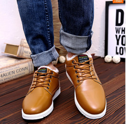 Wholesale Heavy Clay - Leather cotton shoes winter warm in winter warm and velvet south Korean plate shoes with heavy leisure men low tide