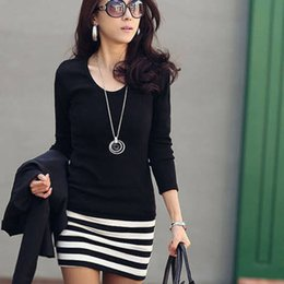 Wholesale Best Deals Dresses - Wholesale- Best deal New Sexy Girl High Quality Sexy Long Sleeve Crew Neck Striped Slim Fit Party Dress For Women