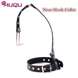 Wholesale nose bondage - Leather Nose Hook sm collar neck bondage fetish flogger slave bdsm collar harnesses men bdsm toys sex products toys for couple