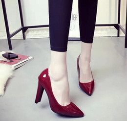 Wholesale Korean Brides Dresses - Free shipping ladies spring Korean red black high-heeled shoes with thick pointed bride lady lady shoes size: 35-39