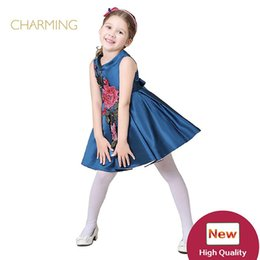 Wholesale Best High Quality Wedding Dresses - Brand new girl dress Designer children s clothing High quality printed high necked sleeveless dress Best wholesale suppliers from china