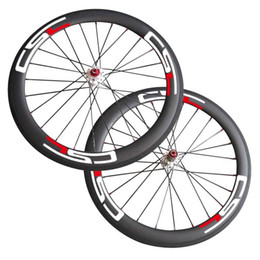 Wholesale Carbon Road Bikes Wheelset - Free Shipping Thru Axle 6 Bolt Disc brake carbon road bike wheels 700C 50mm Clincher Tubuar cyclocross wheelset 23mm 25mm Width