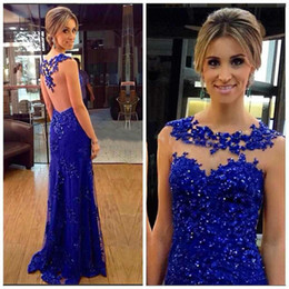 Wholesale Quality Formal Shirts - High Quality 2017 New Mermaid Blue Evening Dresses Custom Made Lace Beaded Tulle Long Prom Dressess Formal Women Party Gowns