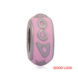 Wholesale Good Luck Beads Bracelet - comejewelry GOOD LUCK&HAPPY FOREVER Spacer Charms Stainless Steel Beads Fit Pandora Style Bracelet & Wooden Hair DIY Jewelry Accessories