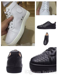 Wholesale Cheap Genuine Leather Dresses - 2017 New Fashion White Genuine Leather High Top Red Bottom Sneakers for mens womens cheap men leisure Designer Luxury dress shoes
